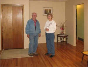Fred and Mary-Lynn Raftis on their new hardwood floor in Arthur, Ontario